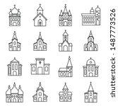 religion church icons set.... | Shutterstock .eps vector #1487773526