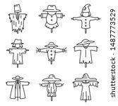 Farm Scarecrow Icons Set....