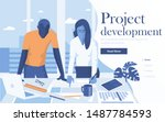 landing page template of... | Shutterstock .eps vector #1487784593