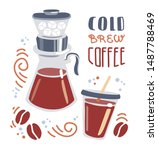 cold brew coffee. trendy flat... | Shutterstock .eps vector #1487788469