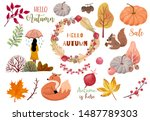 autumn object collection with... | Shutterstock .eps vector #1487789303