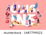 Cuisine Concept with Tiny People and Chief Characters Cooking Eating and Holding Different Huge Food Pieces. Fast Food Cafe Visitors Poster Banner Flyer Brochure. Cartoon Flat Vector Illustration