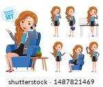 businesswoman vector characters ... | Shutterstock .eps vector #1487821469