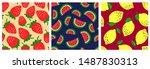 watermelon  strawberry  lemon....   Shutterstock .eps vector #1487830313