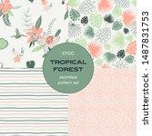 tropical leaves seamless...   Shutterstock .eps vector #1487831753