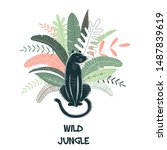wild jungle hand drawn vector... | Shutterstock .eps vector #1487839619