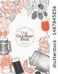 octoberfest design template.... | Shutterstock .eps vector #1487845856
