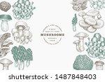 mushrooms design template.... | Shutterstock .eps vector #1487848403
