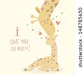 Stock vector  card with cute giraffes for mother s day i love you so much mother giraffe kisses baby giraffe 148785650