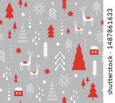seamless christmas pattern.... | Shutterstock .eps vector #1487861633