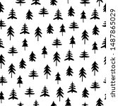 winter forest tree pattern.... | Shutterstock .eps vector #1487865029