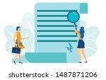two woman having deal. document ... | Shutterstock .eps vector #1487871206