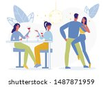 young friends nightlife flat... | Shutterstock .eps vector #1487871959