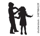vector silhouette of boy who... | Shutterstock .eps vector #1487884139
