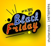 black friday sale banner with... | Shutterstock .eps vector #1487889896