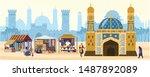 vector illustration of muslim... | Shutterstock .eps vector #1487892089