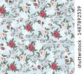 seamless vintage floral pattern ... | Shutterstock .eps vector #1487892539