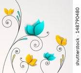 five abstract paper flowers.... | Shutterstock .eps vector #148790480