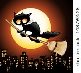 Halloween Black Cat Cartoon...