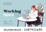 working space landing page... | Shutterstock .eps vector #1487921690