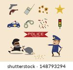 set of police element cartoon | Shutterstock .eps vector #148793294