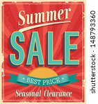 summer sale. vintage card.... | Shutterstock .eps vector #148793360