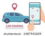 car sharing. rent car online...   Shutterstock .eps vector #1487942609