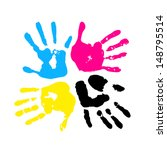 hand print. four color ink for...