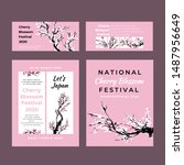 cherry blossom template set... | Shutterstock .eps vector #1487956649