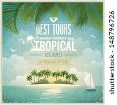 vintage seaside view poster.... | Shutterstock .eps vector #148796726