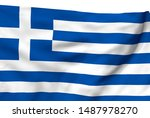 Greece Flag Is Waving In The...