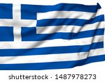 greece flag is waving in the... | Shutterstock . vector #1487978273