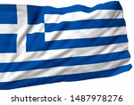 greece flag is waving in the... | Shutterstock . vector #1487978276