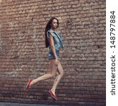 beautiful fashionable woman in...   Shutterstock . vector #148797884