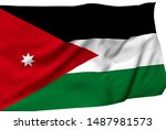 jordan flag is waving in the... | Shutterstock . vector #1487981573