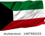 kuwait flag is waving in the... | Shutterstock . vector #1487983253