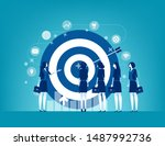 leader and colleague engaged in ... | Shutterstock .eps vector #1487992736