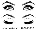 illustration with woman's eyes  ... | Shutterstock .eps vector #1488013226
