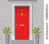 an old style front door  red... | Shutterstock .eps vector #148803014