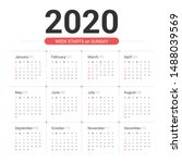 calendar 2020 simple style on... | Shutterstock .eps vector #1488039569