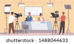 smiling male and female news...   Shutterstock .eps vector #1488044633