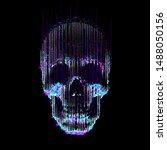 Vector Glitch Line  Art Skull....
