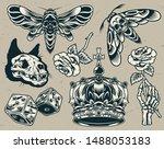vintage monochrome tattoos set... | Shutterstock .eps vector #1488053183