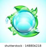 blue glossy sphere on green... | Shutterstock .eps vector #148806218