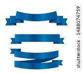 blue ribbons set.vector ribbon... | Shutterstock .eps vector #1488074759