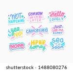funny phrases flat vector... | Shutterstock .eps vector #1488080276
