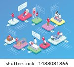 isometric flowchart with icons... | Shutterstock .eps vector #1488081866