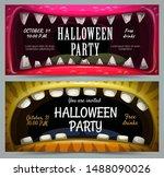 creepy halloween party banners. ...   Shutterstock .eps vector #1488090026