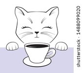 cute cate face with paws and... | Shutterstock .eps vector #1488099020