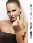 blond girl flirting. studio... | Shutterstock . vector #148813340